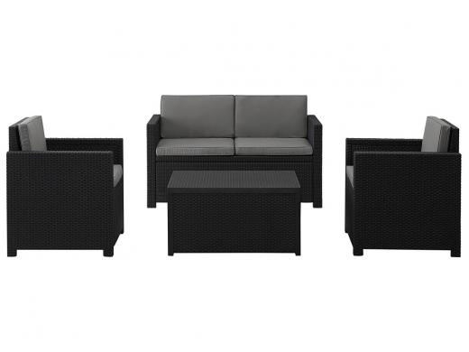 Allibert Ensemble Lounge Monaco + Box A Coussins Anthracite - jardin ...