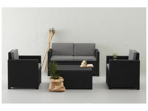Allibert Ensemble Lounge Monaco + Box A Coussins Anthracite