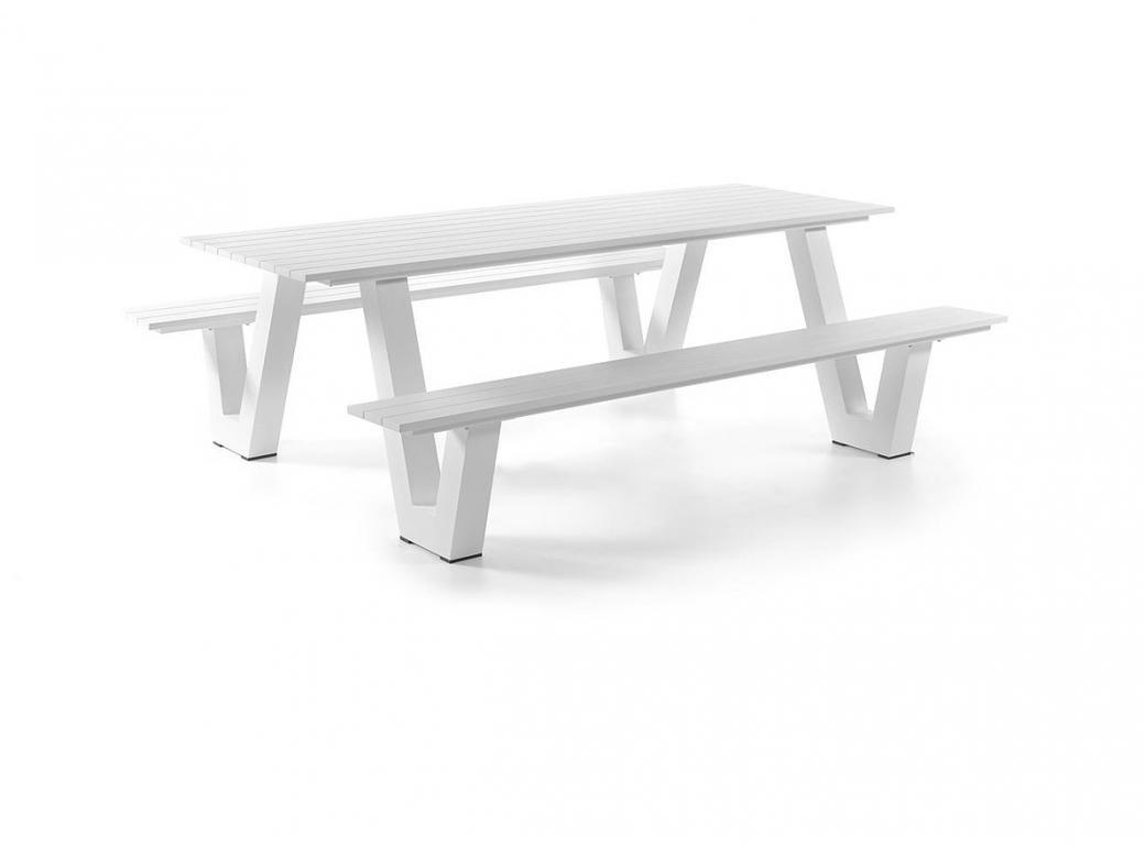 Table Pique-nique Bologna En Alu Blanc 9x9x9cm